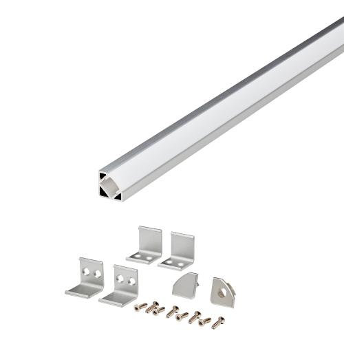LED corner kanal for ribbon i aluminium farge.
