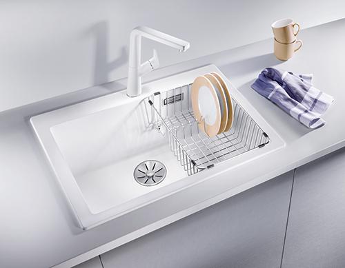 BLANCO PLEON 6 med kumtilpasset trådkurv for tørking av oppvask.