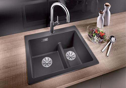 BLANCO PLEON 6 SPLIT i lavagrå, praktisk vask med 2-delt kum.