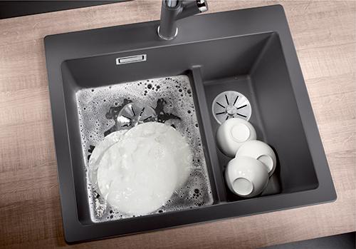 BLANCO PLEON 6 SPLIT, praktisk kum delt i 2 for oppvask og tørk i ett.