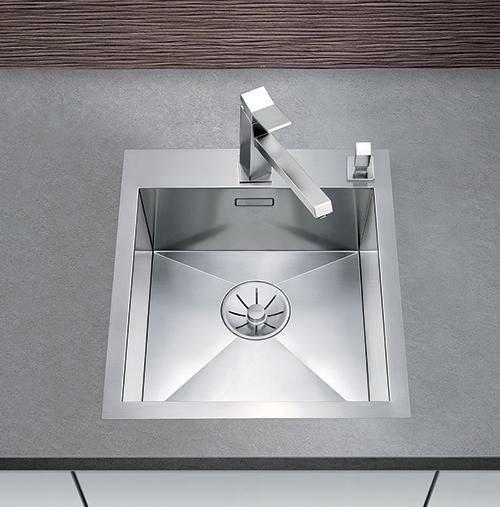 BLANCO ZEROX 400-IF/A kjøkkenvask i rustfritt stål med InFino silkurv.