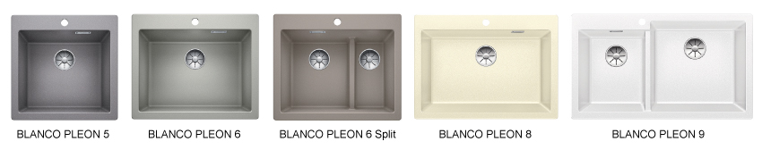 BLANCO PLEON i materialet Silgranit PuraDur - leveres i 5 forskjellige størrelser.