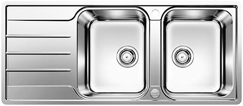 BLANCO LEMIS 8S-IF kjøkkenvask med dobbeltkummer og rillefelt.