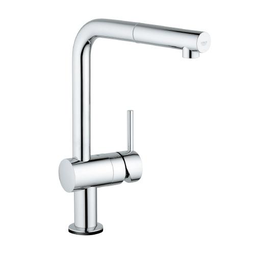 GROHE MINTA TOUCH L-TUT, elektronisk blandebatteri med uttrekkbar dusj. Aktivering/deaktivering av vannstrøm ved berøring av hudkontakt.