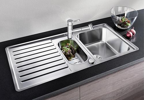 BLANCO CLASSIC PRO 6S-IF, kjøkkenvask i rustfritt stål med skylleskål i liten kum.