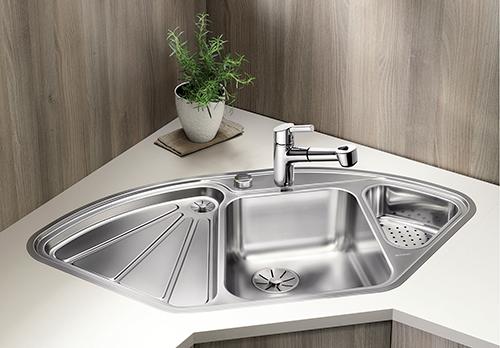 BLANCO DELTA-IF hjørne vask i rustfritt stål.
