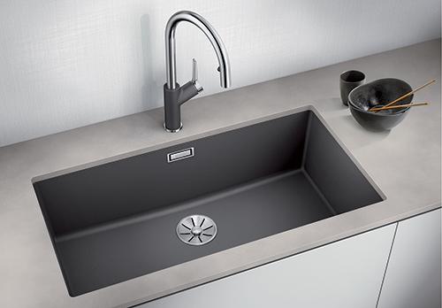 BLANCO SUBLINE 800-U i SILGRANIT PuraDur. Kjøkkenvask for underliming i farge lavagrå. Fås i 10 forskjellige farger.