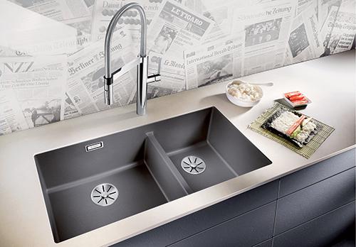 BLANCO SUBLINE 480/320-U i Silgranit PuraDur, farge lavagrå. Kjøkkenvask for underliming.