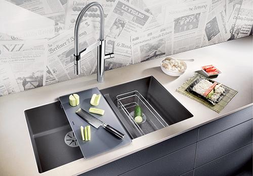 BLANCO SUBLINE 480/320-U i Silgranit PuraDur, farge lavagrå. Kjøkkenvask for underliming. Ekstrautstyr gir økt funksjonalitet.