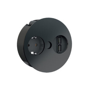 Twist el-kontakt med 1 stikk og 2 USB, sort farge.