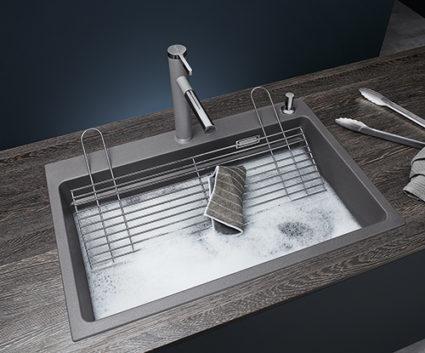 BLANCO ETAGON 8 i SILGRANIT PuraDur, farge alu metallic. Stor og romslig vask med integrert profilkant i vasken.