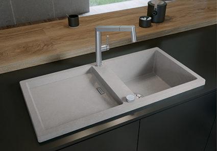 BLANCO ADON XL 6S i SILGRANIT PuraDur. Ny farge Betong som har tydelige strukturer og betong-look. Hver vask er unik.