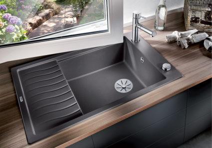 BLANCO ELON XL 6 S i Silgranit PuraDur, farge lavagrå. Kjøkkenvask med ekstra stor kum og rillefelt.