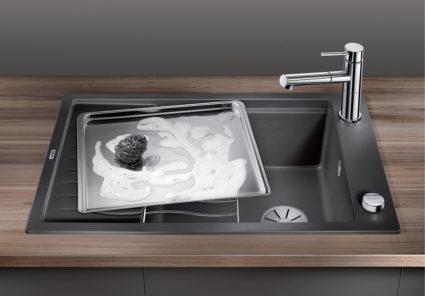 BLANCO ELON XL 6S i lavagrå. Kjøkkenvask med stor og romslig kum for vasking av stekebrett.