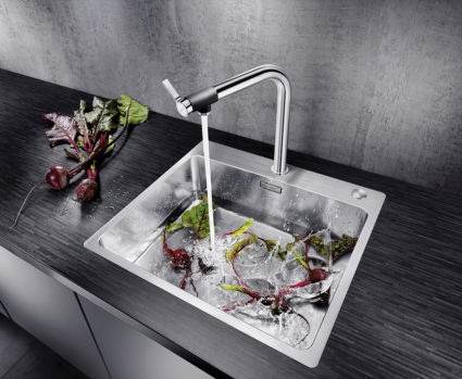 BLANCO ANDANO 500-IF/A kjøkkenvask i rustfritt stål med Push Control oppløftsknapp.