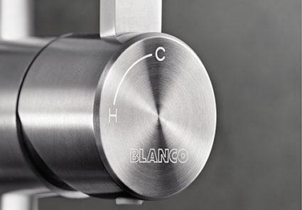 BLANCO CANDOR-S blandebatteri i rustfritt stål børstet har kaldstart funksjon.