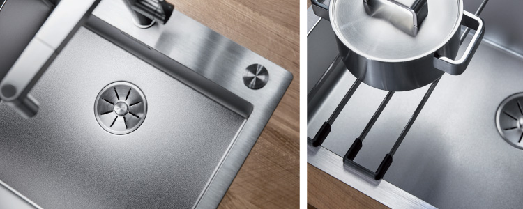 BLANCO CLARON DURINOX kjøkkenvasker i rustfritt stål ekstra motstandsdyktig mot riper.