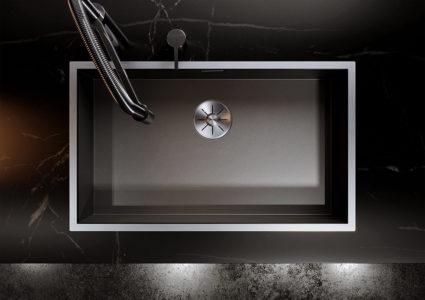 BLANCO ZEROX 700-IF Dark Steel kjøkkenvask i gjennomfarget rustfritt stål, grå farge.