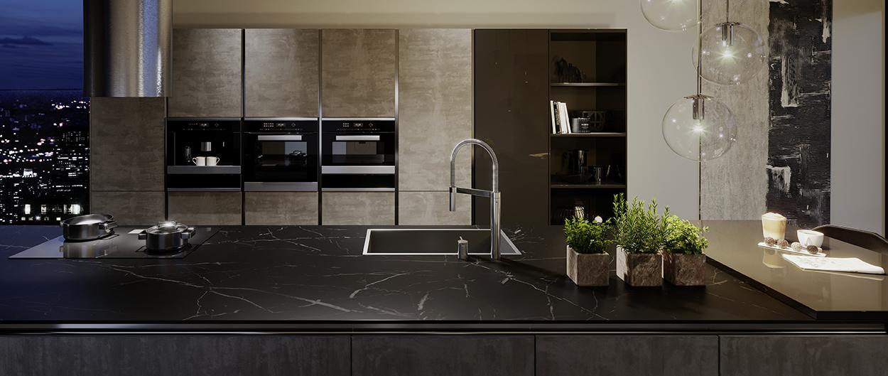 ZEROX Dark Steel passer inn i en bred pallett av farger og materialer til kjøkkenet.