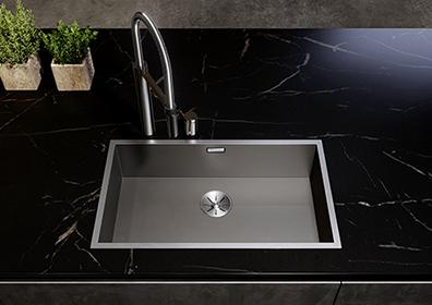 Dark Steel kjøkkenvask med gjennomfarget rustfritt stål i farge mørk grå.