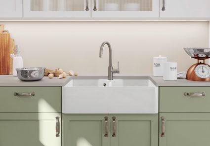 BLANCO VILLAE Farmhouse doble. Kjøkkenvask i porselen med landstil design.
